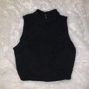 Black Detailed bebe crop top